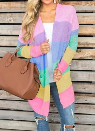 Вязаный яркий кардиган. вязаный свитер полосатый, накидка