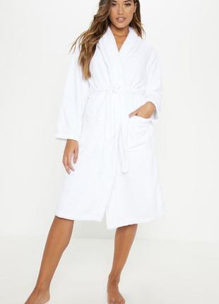 Махровый белый халат. теплый женский халат