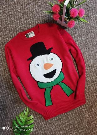 Новогодний свитер. свитер оверсайз снеговик
