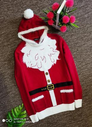 Новогодний свитер. свитер оверсайз. свитшот дед мороз