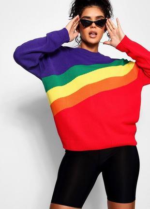 Свитер оверсайз. яркий свободный свитер boohoo