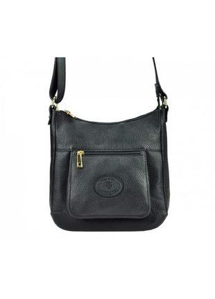 Женская кожаная сумка небольшая на плечо  silvia  черный