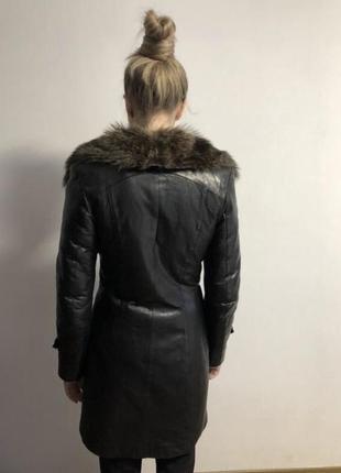 Кожаная дубленка, пальто кожаное зимнее