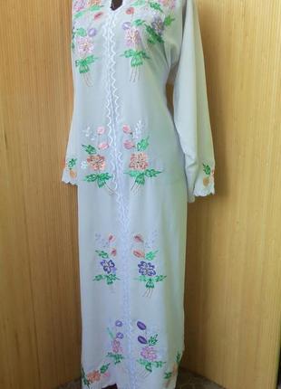 Белое длинное платье рубаха вышиванка / джаллаба / абая / галабея