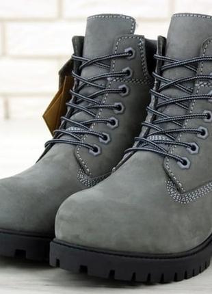 Женские зимние ботинки с мехом тимберленд😍timberland grey blac...