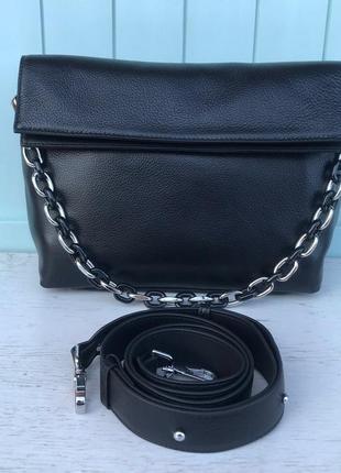 Женская кожаная сумка через на плечо polina & eiterou  чёрная ...