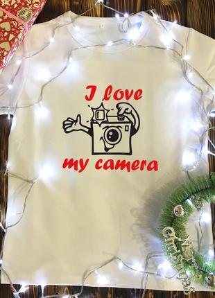 Мужская футболка с принтом - i love my camera