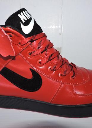 NIKE AIR JORDAN красные зимние кроссовки - ботинки - кеды с мехом