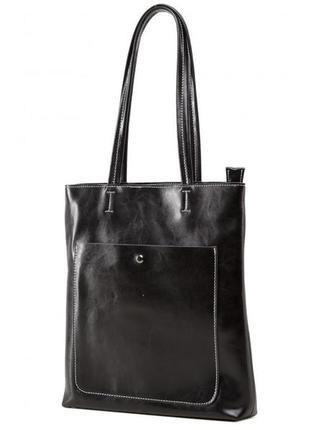 Сумка шоппер кожаная на молнии повседневная кэжуал casual стил...