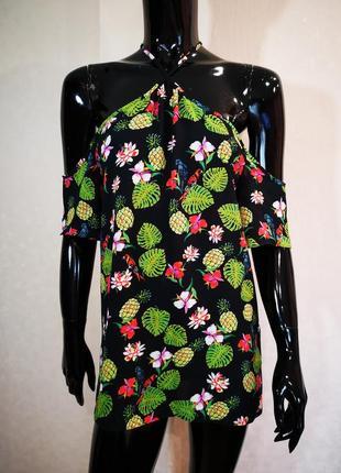 Яркая шифоновая блуза открытые плечи peacocks