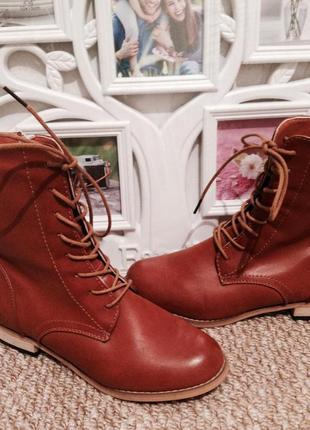 Женские ботинки рижие шнурки, зима