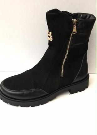 Высокие кожаные ботинки зима на тракторной подошве