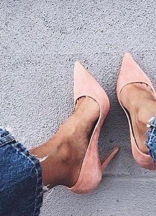 Туфли лодочки классические на шпильке замшевые пудра