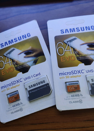 Карты памяти Micro SD Kingston/Samsung 64gb