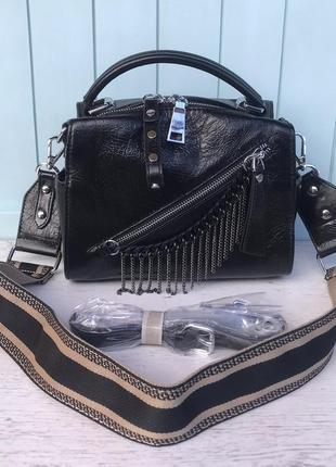 Женская кожаная сумка polina & eiterou через на плечо черная ж...