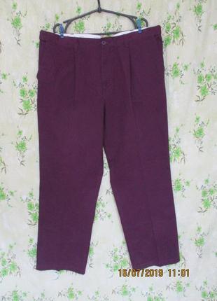 Стильные брюки/штаны коттон/баклажановые/батал пояс с утяжкой
