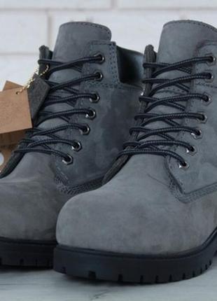 Женские ботинки с мехом тимберленд, зимние😍timberland grey bla...