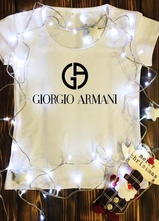 Женская футболка  с принтом - giorgio armani