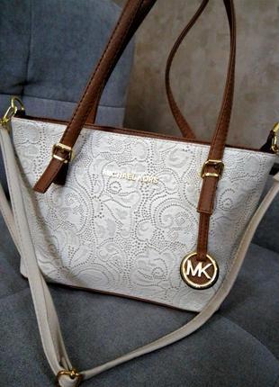 Стильная сумка с красивым тисненым кружевом на коже michael kors💎