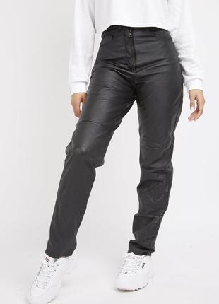 Актуальные винтажные кожаные брюки мом с высокой посадкой №379