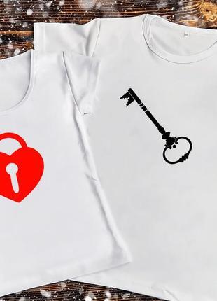 Парная футболка - замок с ключём