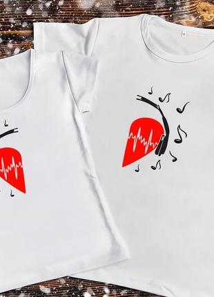 Парная футболка - сердце в наушниках