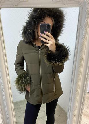 Шикарная куртка парка s с мехом енота