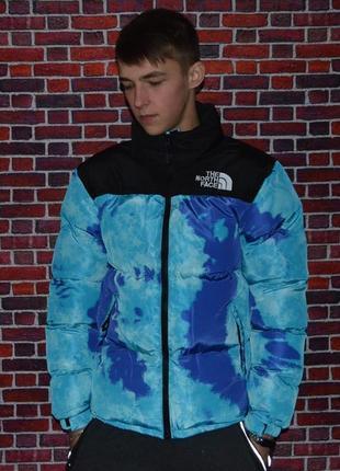 Пуховик the north face jacket scuba blue tie dye