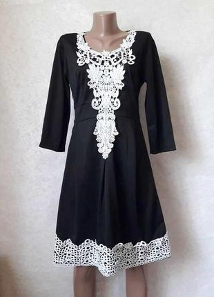 Новое платье миди с белоснежной кружевной вставкой и рукавами ...