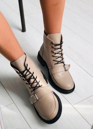 Кожаные бежевые зимние ботинки 💥