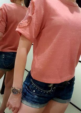 Топ h&m швеция терракотовый оранжевый вышивка крутой стильный