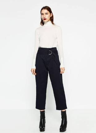 Укороченные брюки с завышенной линией талии zara s