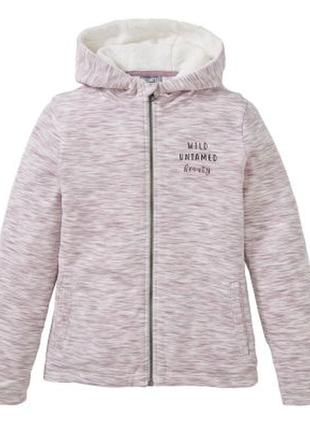 Куртка текстильная на искусственном меху, розовый меланж peppe...