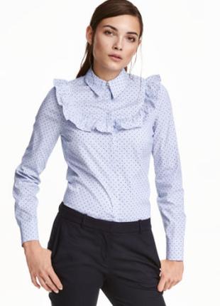 Блузка с оборкой, рубашка h&m eur 40