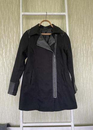 Пальто косуха с кожаными вставками