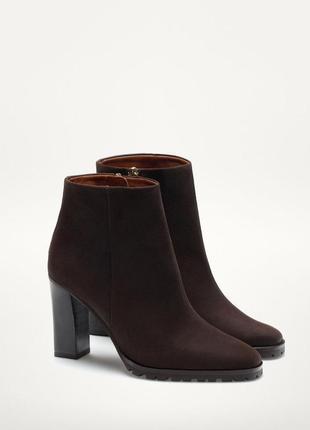 Кожаные ботинки на каблуке massimo dutti, ботильоны, сапоги, п...