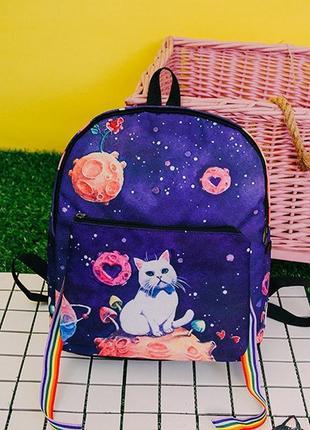 Прикольный темно-синий рюкзак, портфель с котом + сумка