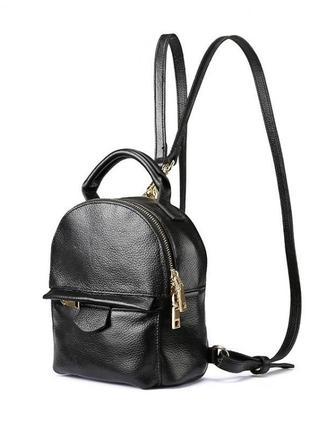Черный кожаный маленький рюкзак