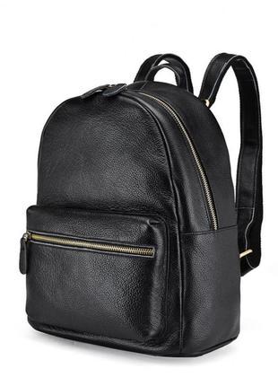 Вместительный черный классический кожаный рюкзак