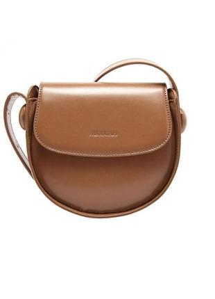 Классная круглая коричневая, бежевая сумка необычной формы на ...