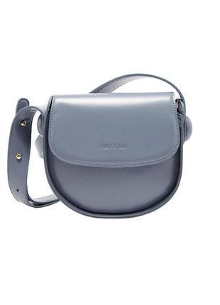 Шикарная полукруглая, круглая, голубая, нежно-голубая сумка на...