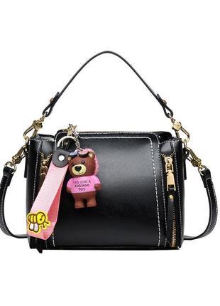 Маленькая стильная черная сумка с длинной и короткой ручкой