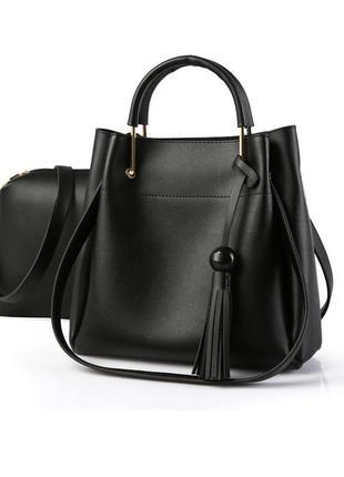 Черная удобная сумка + маленькая сумка косметичка. набор
