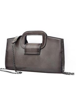 Серый удобный клатч с ручкой + цепочка