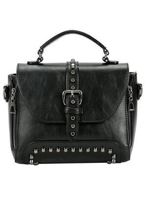 Крутая черная небольшая сумка с заклепками, на плечо