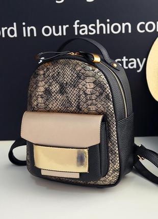 Красивый, удобный черный рюкзак с золотом