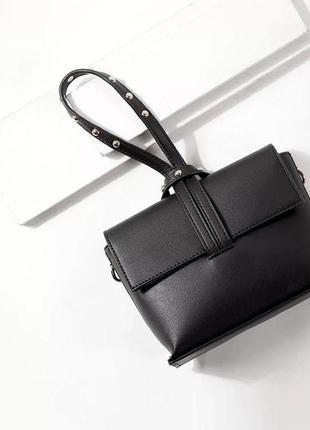 Стильная черная маленькая сумка через плечо, кросс боди