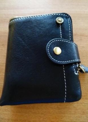 Черный маленький кожаный женский кошелек, бумажник, портмоне
