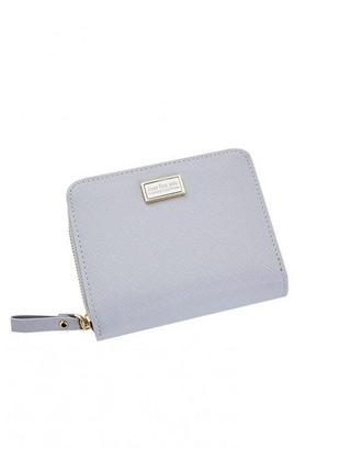Серый удобный небольшой женский кошелек, бумажник, портмоне