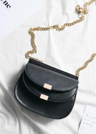 Черная необычная маленькая сумка на пояс, на цепочке